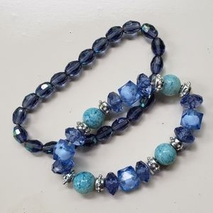 2 blue beaded stretch bracelets